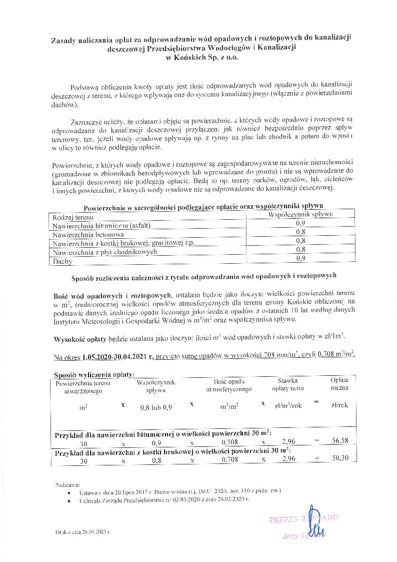opłaty za wprowadzenie ścieków opadowych i roztopowych 2
